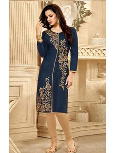 Admirable Blue and Cream Embroidery Printed Kurti