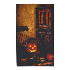 "Flip the switch to make this canvas extra creepy! LED Jack-O-Lantern Rocking Chair Wall Canvas, 20"" x 12"" $19.99  #Gordmans #Halloween #Decorations"