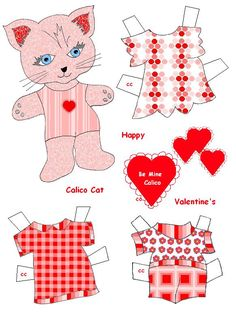 Fun Valentine Cat paper doll for you to make.