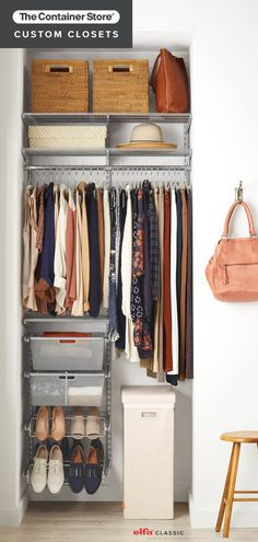Elfa Classic is the original custom closet system. Exclusively ours, this wall-hanging system is incredibly strong and customizable - allowing you to easily move shelves and drawers. It's ideal for closets, pantries, offices, craft rooms and garages.