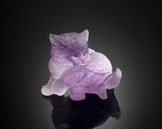 Idar-Oberstein, Germany Depicting a kitten grooming his leg, carved from a single large crystal of fine transparent violet amethyst, realistically textured to suggest the fur. Length 3 in. Minerals And Gemstones, Rocks And Minerals, Large Crystals, Stones And Crystals, Rocks And Gems, Stone Carving, Cat Art, Wonderland, Miniature