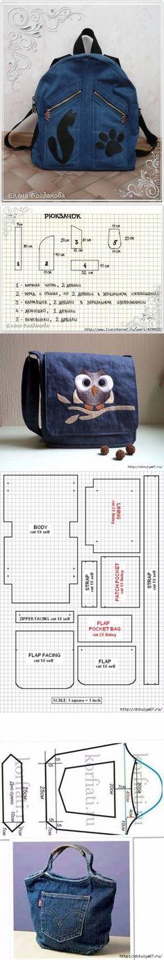 sdelaisam.mirtesen.ru Denim Bag, Bag Making, Suitcase, Gym Bag, Diy And Crafts, Backpacks, Handbags, Quilts, Sewing