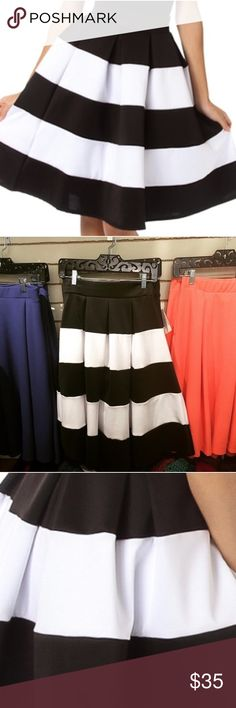 """NWT Stripe Midi Full Skirt in Black White Scuba Brand new scuba fabric striped full midi skirt. Stretchy throughout with elastic waistband. Large, flattering stripes. At or below knee for most (hits me at the knee and I am 5'9""""). Sizing runs pretty small, closer to juniors sizes. S-0/2 M- 4 L-8 All sizes available for sale in my closet! Cemi Ceri Skirts Midi"""