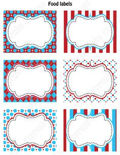 DIY Dr. Seuss Inspired  Birthday Party  PRINTABLE Food Labels favor tags Red Blue white