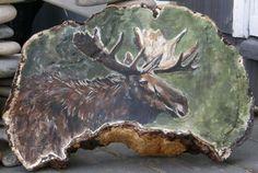 Wood Paintings, Painting On Wood, Mushroom Crafts, Moose Deer, Drift Wood, Christmas Wood, Wildlife Art, Pyrography, Awesome Art