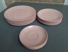 Melmac Pink Dinnerware -  7 Dinner Plates, 6 Salad Plates, 6 Saucers - Mallo-Belle by Mallory - Chicago USA - Vintage Mid Century Melamine by ClassyVintageGlass on Etsy
