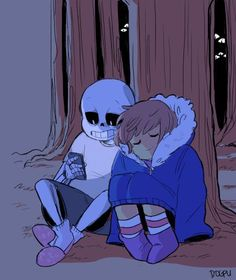 """i want sans and frisk to sit in the woods and look at the stars and sans to give frisk his jacket bc he doesn't need it (no nerves?? he can't feel cold??) and as they're fallin asleep they mutter smth like """"thanks dad"""" and he jsut fuckinng. melts."""