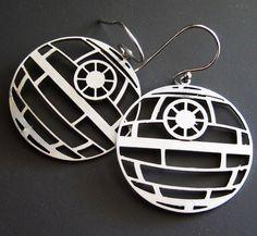 Star Wars Death Star Earrings. $48.00, via Etsy. Yes please!!!!!!!