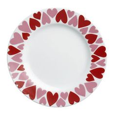 Valentine Plate - red and pink hearts around the edge
