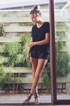 leather shorts + black tee