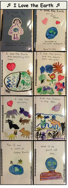 """ENJOY THIS SONG! """"I Love the Earth"""" by Sharon Mattioli (illustrated by her kindergartners) using the tune of """"Itsy Bitsy Spider."""" This memorable song speaks to our respect for the earth and all living things: Every day is Earth Day! DOWNLOAD Earth Day song!"""