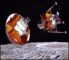 Shown is a large orbital transfer vehicle and lander in low lunar orbit over the crater Copernicus