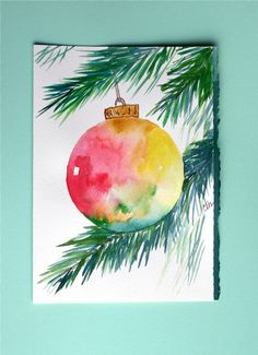 Watercolor card Christmas ornament greeting by ArtworksEclectic.