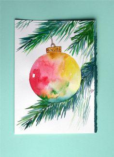 Watercolor card, Christmas ornament, greeting card, Christmas, ornament, holiday, original art. $4.75, via Etsy.