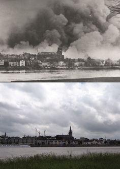 Het bombardement van 22 Febr. gefotografeerd vanuit Lent.  Bij het Amerikaanse bombardement vielen meer dan 800 doden.