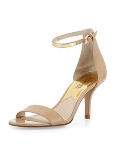 Kristen Mid-Heel Patent Sandal, Nude by MICHAEL Michael Kors at Neiman Marcus.