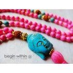 Begin Within Jewelry Buddha Mala Beads • Hot Pink & Turquoise Magnesite for Creative Visualization
