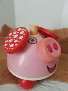 Original Ohio Art Children's Mechanical Ringing Pink Piggy #OhioArt