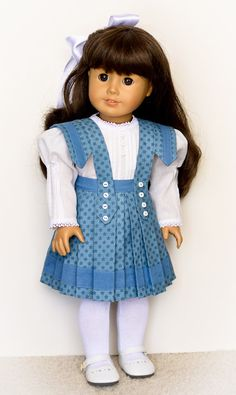 """Samantha in Blue"" pleated Skirt and Blouse by AnnasGirls on Etsy  $52.00"