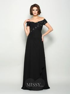 A-Line/Princess Off-the-Shoulder Short Sleeves Chiffon Sweep/Brush Train Mother of the Bride Dresses with Beading