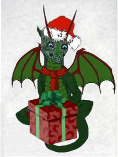Christmas Dragon Hatchling Egg Baby Babies Cute Funny Humor Fantasy Myth Mythical Mystical Legend Dragons Wings Sword Sorcery Magic Art Fairy Maiden Whimsy