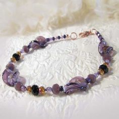 Anklet Purple Black Crystal Twisted Lampwork Glass Beads Copper   ThaddeusRose - Jewelry on ArtFire - Countdown to Christmas