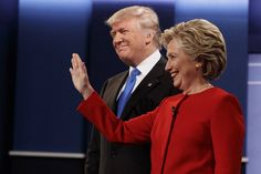 Republican presidential candidate Donald Trump, left, stands with Democratic presidential candidate Hillary Clinton before the first presidential debate at Hofstra University in Hempstead, New York.