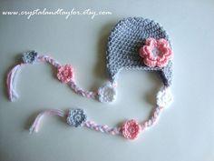 Baby Girl Hat, Baby Crochet Hat, Newborn Crochet Hat In Light Gray, Light Pink, and White, Newborn Hat, Crochet Baby Hat by crystalandtaylor on Etsy https://www.etsy.com/listing/180711357/baby-girl-hat-baby-crochet-hat-newborn