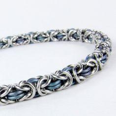 Chainmaille Bracelet - Blue Titanium - Byzantine Pattern