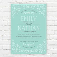 """Scrollwork"" wedding invitation by J. Amber Creative"