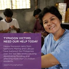 In August 2013, two typhoons battered the Philippines causing devastating flooding affecting more than 2.5 million residents. Our thoughts and prayers are with the victims including the 150,000 @Opportunity International clients and staff located in the affected areas. Share this post and find out how you can help today >>>