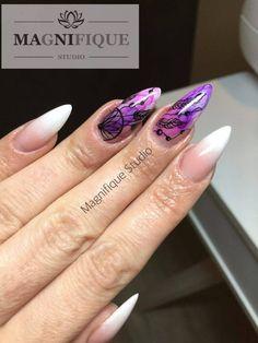 Easy Shape Cover, Sugar Effect + Farbki Akrylowe by Justyna Tsoumpas Cute Nails, Pretty Nails, Sugar Effect, Tumblr Nail Art, Violet Nails, Indigo Nails, Easy Shape, Beauty Guide, Nail Inspo