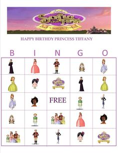 Sofia The First Personalized Bingo by YummiliciousTreats on Etsy, $6.00