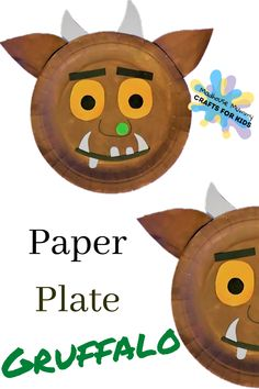 A fun and easy world book day craft for children. Paper plate Gruffalo inspired by one of our favourite children's books; The Gruffalo written by Julia Donaldson Paper Plate Masks, Paper Plate Art, Paper Plate Crafts For Kids, Book Crafts, Paper Plates, Gruffalo Activities, Craft Activities, Toddler Activities, World Book Day Ideas