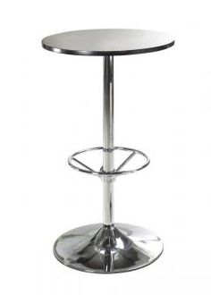 Black lacquered bar #table with chrome base http://www.officefurniturescene.co.uk/black-bar-table