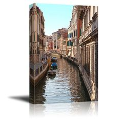 Wall26  Canvas Prints Wall Art  Venice Canal  Modern Wall Decor Home Decoration Stretched Gallery Canvas Wrap Giclee Print Ready to Hang  24 x 36 *** Check out this great product.Note:It is affiliate link to Amazon.