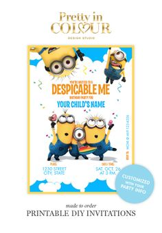 Despicable Me Birthday Invitations Design File #001