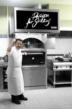 Chef Martín Berasategui with Josper at his Eme Be Garrote restaurant, San Sebastian.