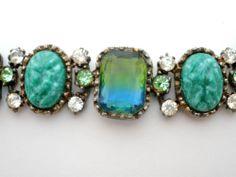 Vintage High End Rhinestone Bracelet Blue Green Jade Bi Color Glass 7 25 Long | eBay