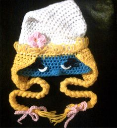 I wish I had thought of this earlier! I just finished helping to make a Smurfette costume that did not involve a cute crocheted headpiece...