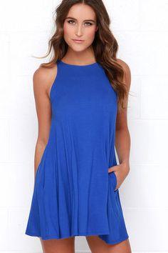 Chic Royal Blue Dress - Sleeveless Dress - Trapeze Dress - $38.00