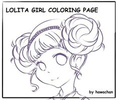 Printable A4 Lolita Girl Adult Coloring Page