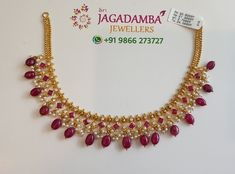 Ruby drops Wt : Gorgeous gold necklace with guttapusalu and rubies hangings. 13 September 2019 Ruby drops Wt : Gorgeous gold necklace with guttapusalu and rubies hangings. Gold Necklace Simple, Gold Jewelry Simple, 18k Gold Jewelry, Ruby Jewelry, Bridal Jewelry, Light Weight Gold Jewellery, Jewelry Necklaces, Short Necklace, Jewelry Sets