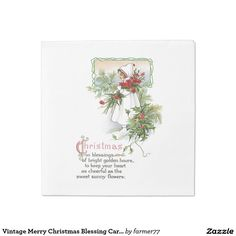 Vintage Merry Christmas Blessing Card Floral Poem