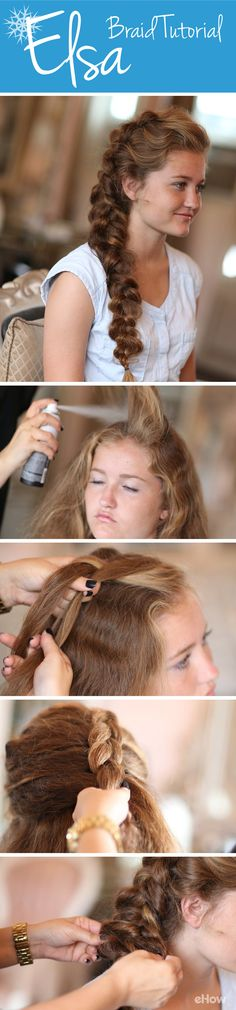 Every girl is envious of Elsa's braid! Adorable for any age, this tutorial shows you just how to get that big, beautiful, cascading braid from Frozen!  http://www.ehow.com/how_12340624_hair-like-elsa-frozen.html?utm_source=pinterest.com&utm_medium=referral&utm_content=freestyle&utm_campaign=fanpage