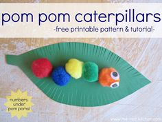 Pom Pom Caterpillars--free pattern & tutorial (Great counting & tactile activity for preschool and kindergarten age kids!) www.the-red-kitchen.com