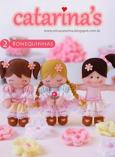 Amigas do Feltro! passo-a-passo das bonequinhas ~ How to make these handmade felt dolls Felt Fabric, Fabric Dolls, Paper Dolls, Doll Crafts, Diy Doll, Felt Patterns, Doll Tutorial, Sewing Dolls, Felt Toys