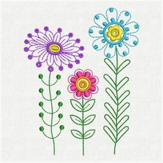 Wind Bell Embroidery Embroidery Design: Fancy Flowers 2.96 inches H x 3.80 inches W