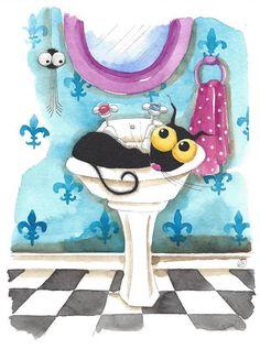 Original watercolor painting whimsical Stressie Cat spider pretty bathroom scene #IllustrationArt