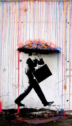 www.lyfeclub.com - Created in 2009, this was the first mural done by the Skurtur Design Collective. Entitled CMYK, the piece is located in Svartlamoen, Trondheim, Norway and was created using spray paint, stencil and an umbrella cut in half. #amazing #art #beautiful